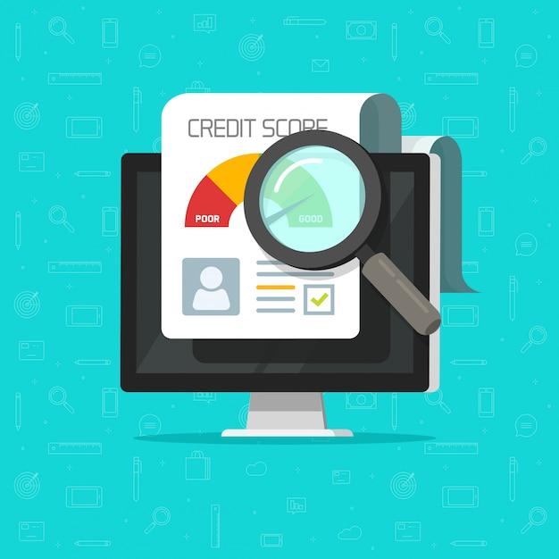 Kredit-score online-bericht forschungsdokument auf computer flache karikatur Premium Vektoren