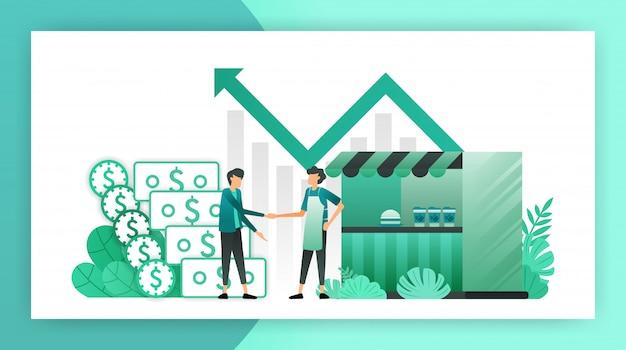 Kredite für kleinunternehmen Premium Vektoren