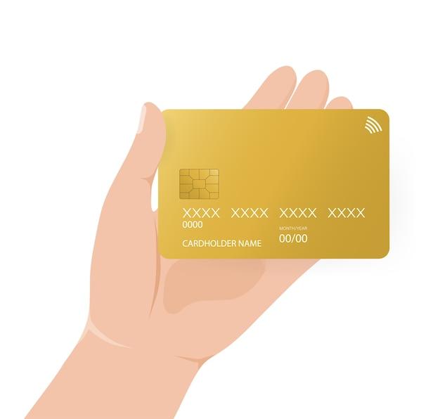 Kreditkarte mit der hand, ideal für jeden zweck. bankkartenillustration. onlinebezahlung. Premium Vektoren