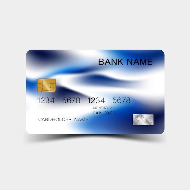 Kreditkarten-design. blaue farbe. und inspiration aus dem abstrakten. Premium Vektoren