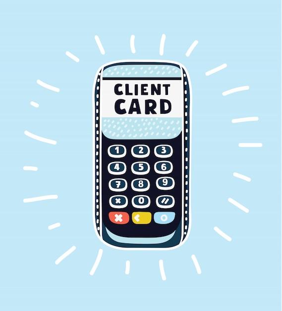 Kreditkartenterminal auf weiß auf der rechten seite des bildes Premium Vektoren