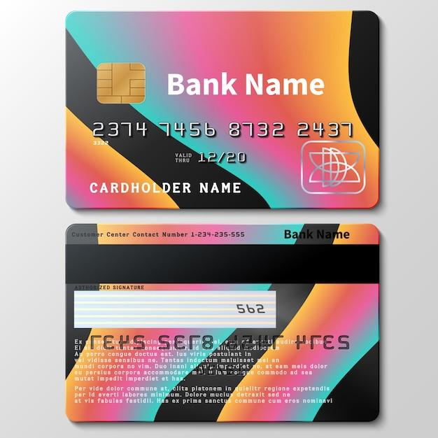 Kreditkartenvektorschablone mit futuristischen bunten flüssigen formen der zusammenfassung 3d. illustration der kreditkarte für unternehmen, geld in der bank Premium Vektoren