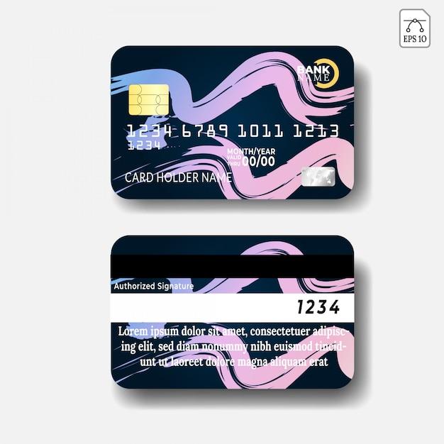Kreditkartenvorlage mit abstrakten design Premium Vektoren