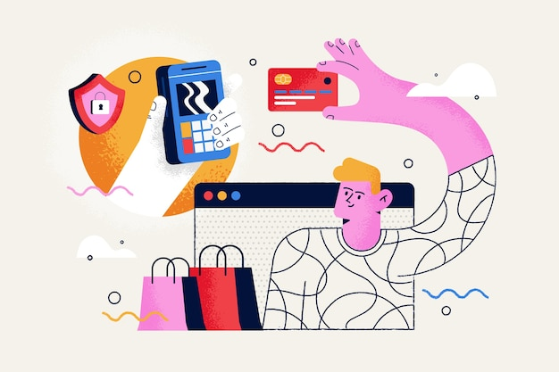 Kreditkartenzahlungskonzept für zielseite Kostenlosen Vektoren