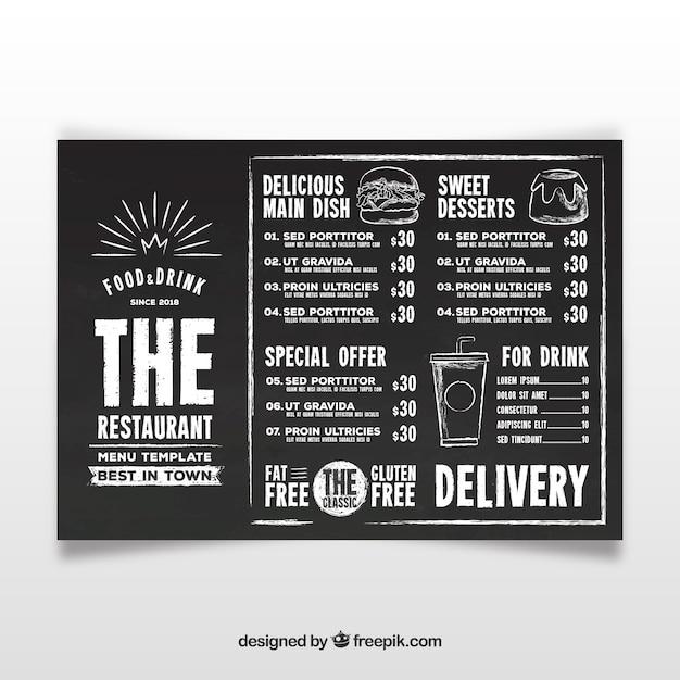 Kreide-Stil Menüvorlage | Download der kostenlosen Vektor