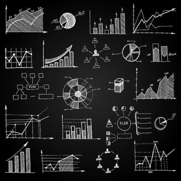 Kreidebrett-gekritzel-netzdiagramme Kostenlosen Vektoren