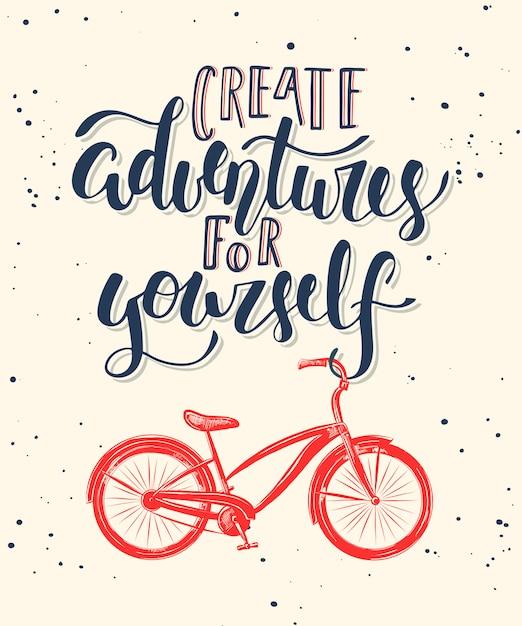 Kreieren sie mit dem fahrrad abenteuer für sich. Premium Vektoren
