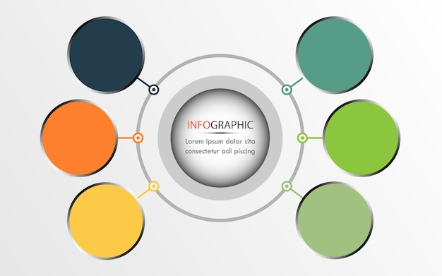 Kreis-infografik-design, kann für diagramm verwendet werden. geschäftskonzept mit 6 wahlen Premium Vektoren
