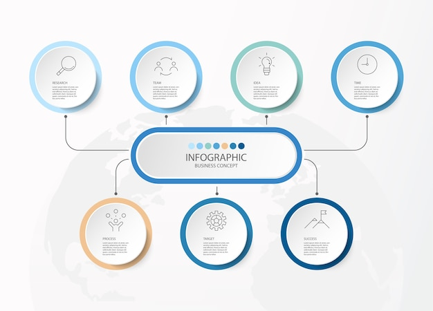 Kreis infografik mit dünnen linien icons Premium Vektoren