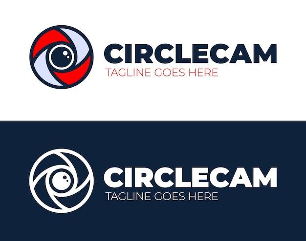 Kreis kamera auge logo design-vorlage. cctv, videoüberwachung abstrakte geschäftslogo-idee. Premium Vektoren
