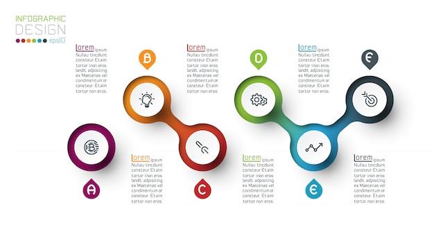 Kreis label infografik mit schritt für schritt. Premium Vektoren