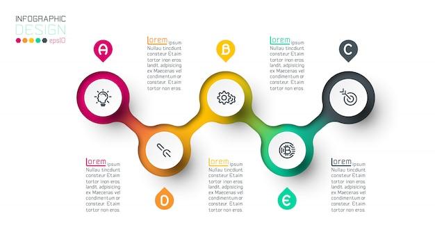 Kreis label infografik mit schritt für schritt Premium Vektoren