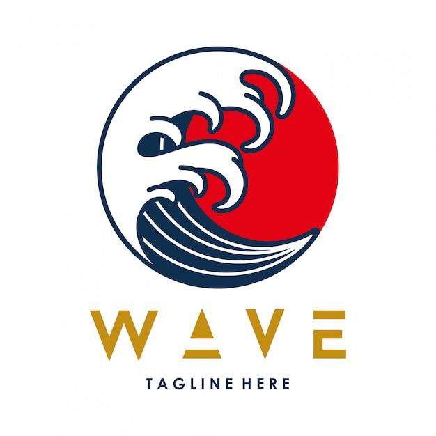 Kreis-logo schablone der vektor-wasser-wellen-japanischen art Premium Vektoren