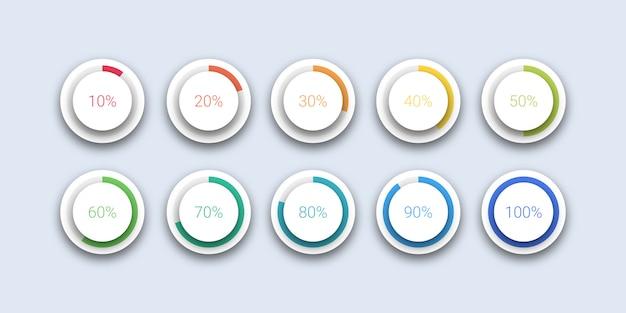 Kreis prozentuale ladungssammlung Premium Vektoren