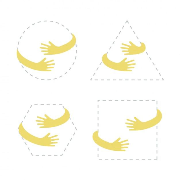Kreis, quadrat, dreieck, sechseckform mit gelber handumarmung. Premium Vektoren