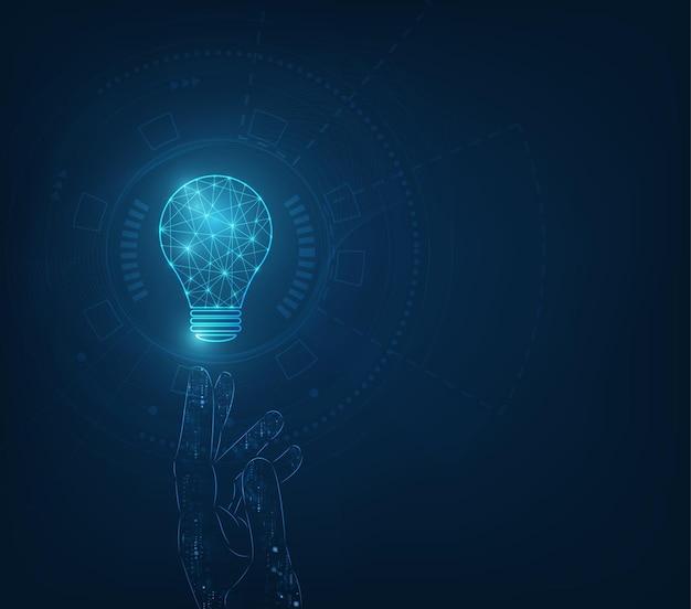 Kreis tech mit hellblau und lampe auf technologie hintergrund. Premium Vektoren