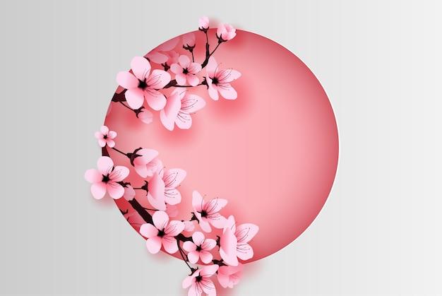 Kreis verzierte frühlingsjahreszeitkirschblüte Premium Vektoren