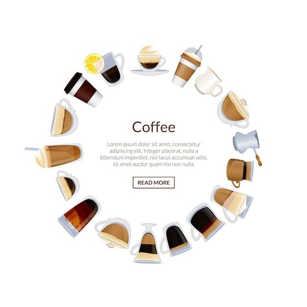 Kreis von kaffeetassen und heißen getränken platz für text Premium Vektoren