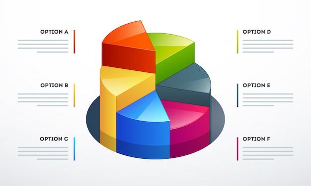 Kreisdiagramm 3d in den verschiedenen wachstumsschritten für geschäft infographics-schablone Premium Vektoren