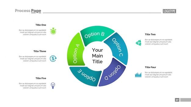 Kreisdiagramm mit fünf elementen vorlage Kostenlosen Vektoren