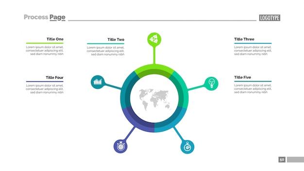 Kreisdiagramm mit fünf elementen Kostenlosen Vektoren