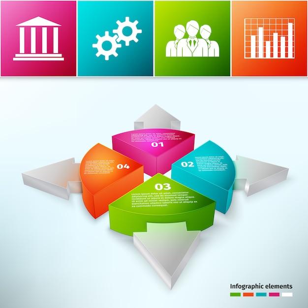 Kreisdiagramm mit pfeilen 3d Kostenlosen Vektoren