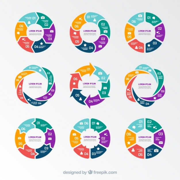 Kreisdiagramme infografik Kostenlosen Vektoren