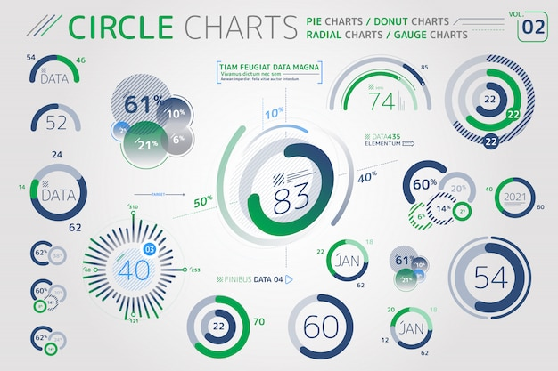 Kreisdiagramme, kreisdiagramme, donutdiagramme und radialdiagramme infografik-elemente Premium Vektoren