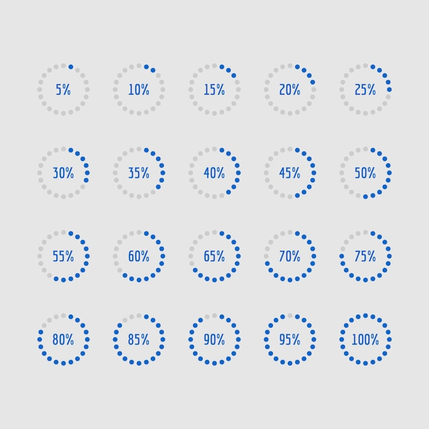 Kreisdiagramme, kreisprozentsatzdiagramme der belastung Premium Vektoren