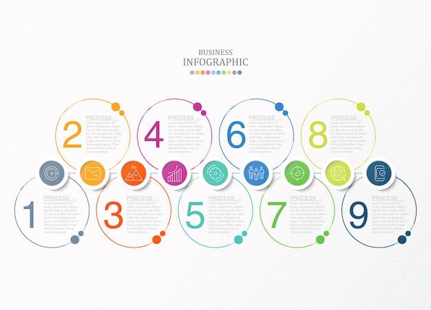 Kreise infografiken und symbole. vektorgeschäftsvorlage für präsentation. Premium Vektoren