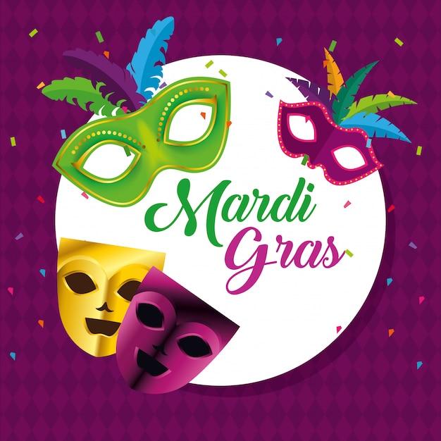 Kreisemblem mit masken für karnevalfeier Kostenlosen Vektoren