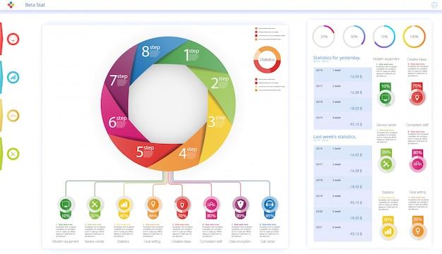 Kreisen sie grafische elemente des unternehmensworkflows ein. kann für infografiken verwendet werden, Premium Vektoren