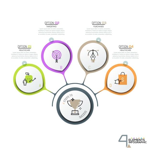 Kreisförmige elemente mit piktogrammen in dünner linienform Premium Vektoren