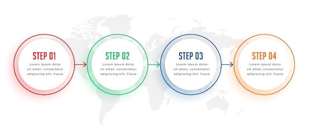Kreisförmige infografik-vorlage mit vier schritten in farben Kostenlosen Vektoren