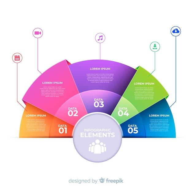 Kreisförmige infographic schablone in der steigungsart Kostenlosen Vektoren