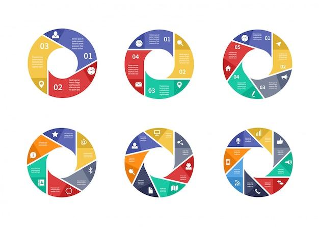 Kreisförmige technologie infografiken mit optionen auf pfeile. informationsteamwork-diagramme. Premium Vektoren