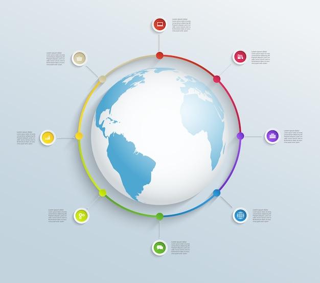 Kreisförmige zeitleiste mit weltkarte und geschäftssymbolen. Premium Vektoren