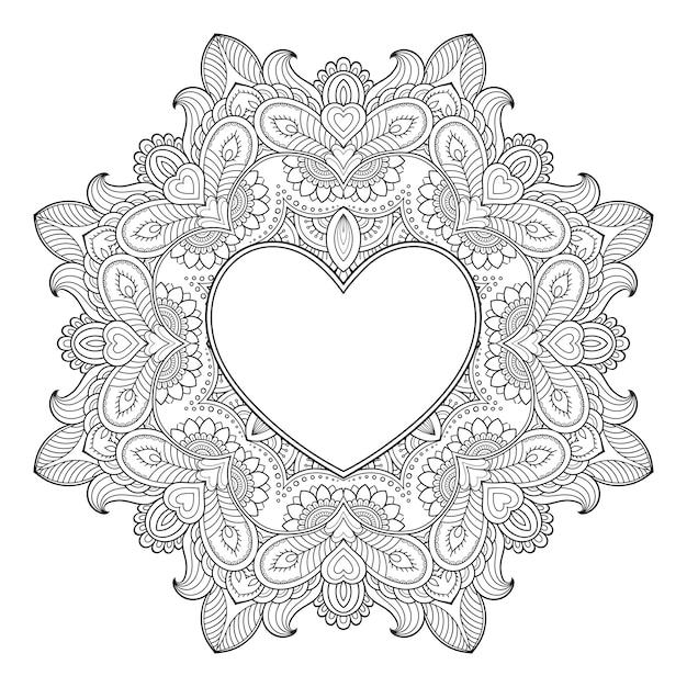 Kreisförmiges muster in form eines mandalas mit rahmen in form eines herzens. dekorative verzierung im ethnisch orientalischen mehndi-stil. umriss gekritzel antistress malbuch seite. Premium Vektoren