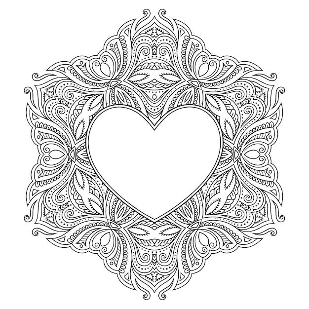 Kreisförmiges muster in form eines mandalas mit rahmen in form eines herzens. dekorative verzierung im ethnisch orientalischen mehndi-stil. Premium Vektoren