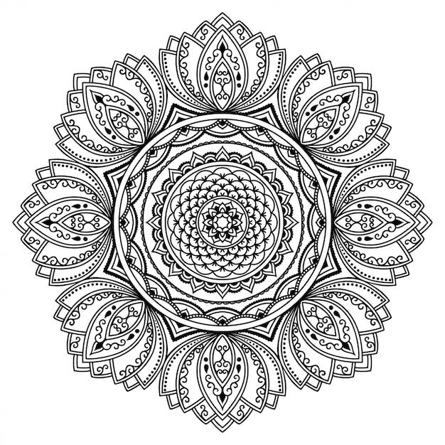 Kreismuster in form eines mandalas. dekorative verzierung im ethnisch orientalischen stil. umriss gekritzel hand zeichnen illustration. malbuchseite. Premium Vektoren