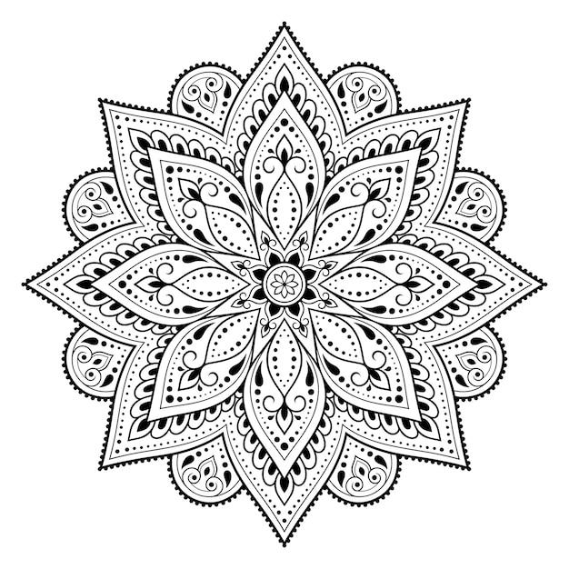 Kreismuster in form eines mandalas. dekorative verzierung im ethnisch orientalischen stil. umriss gekritzel hand zeichnen illustration. Premium Vektoren