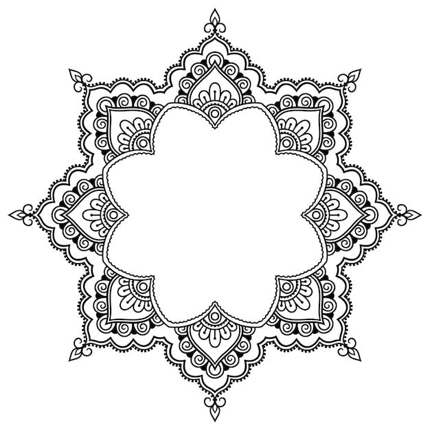 Kreismuster in form eines mandalas für henna, mehndi, tätowierung, dekoration. dekorative rahmenverzierung im ethnisch orientalischen stil. Premium Vektoren
