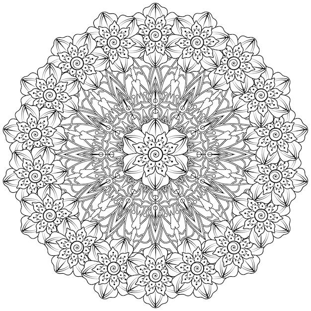 Kreismuster in form eines mandalas im ethnisch orientalischen indischen stil. Premium Vektoren