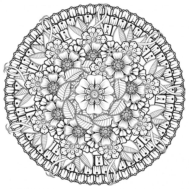 Kreismuster in form eines mandalas mit blume für henna, mehndi, tätowierung, dekoration. mehndi blumendekoration im ethnisch orientalischen, indischen stil. Premium Vektoren