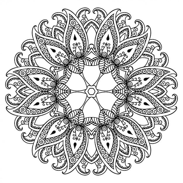 Kreismuster in form eines mandalas mit blume für henna, mehndi, tätowierung, dekoration. Premium Vektoren