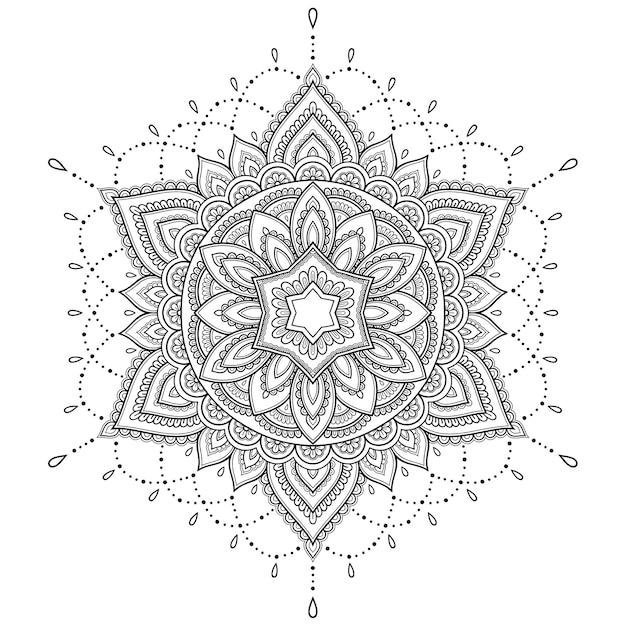 Kreismuster in form eines mandalas. Premium Vektoren