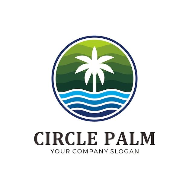 Kreispalmenlogo mit grüner und blauer farbe Premium Vektoren