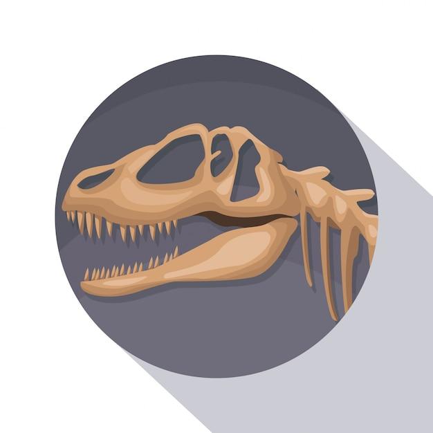 Kreisrahmenschattierung des plakatnahaufnahmevorgeschichte-skelettsdinosauriers Premium Vektoren