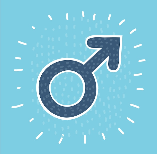 Kreissymbol des männlichen geschlechtssymbols mit langem schatten Premium Vektoren