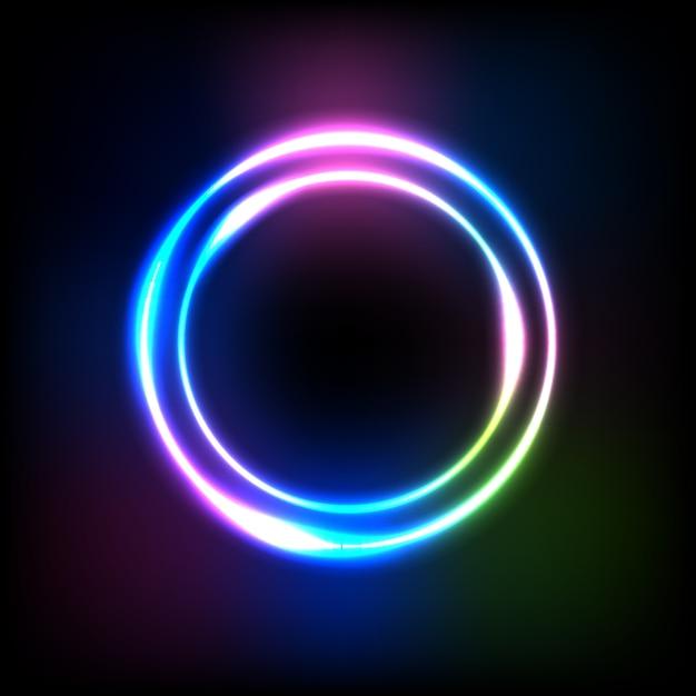 Kreisverlauf lichteffekt bei dunkelheit Premium Vektoren